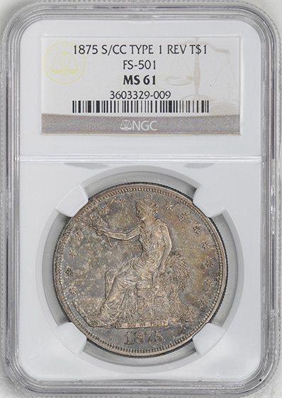 Picture of 1875-S/CC TRADE T$1, OVERMINTMARK MS61