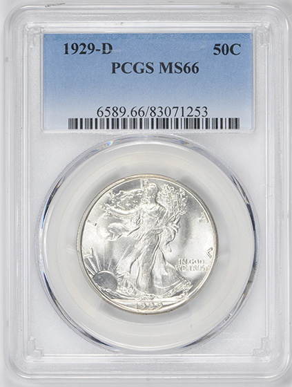 Picture of 1929-D WALKING LIBERTY 50C MS66