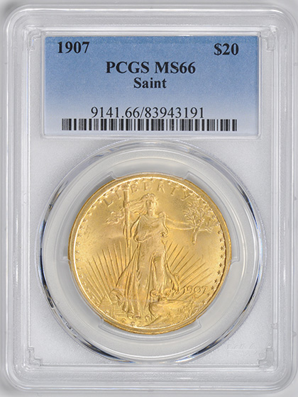 Picture of 1907 ST. GAUDENS $20, SAINT MS66