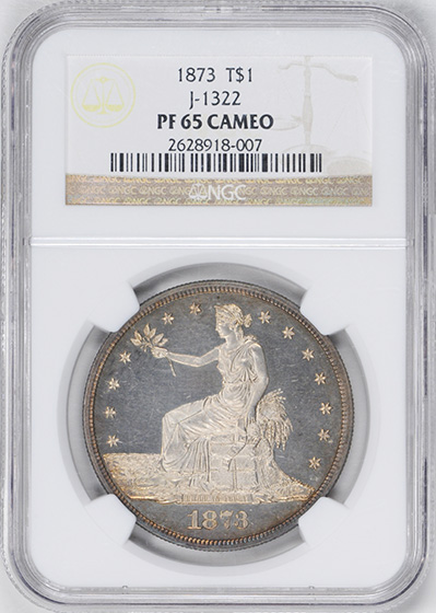 Picture of 1873 T$1 J-1322 PR65 Cameo