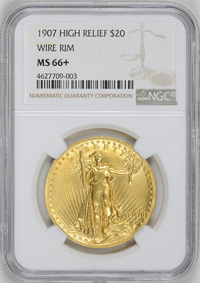 Picture of 1907 ST. GAUDENS $20, HIGH RELIEF-WIRE EDGE MS66+