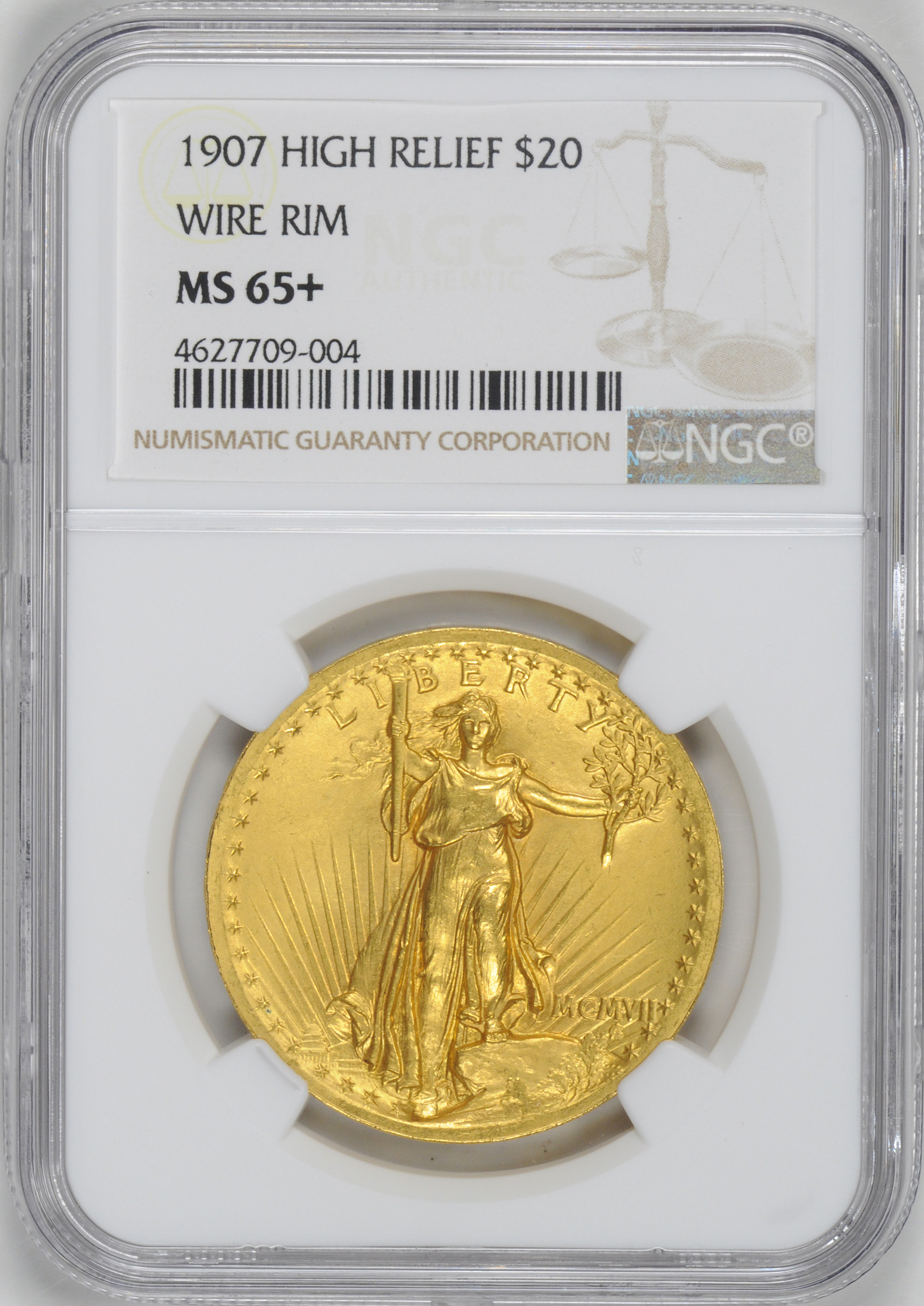 1907 ST. GAUDENS $20, HIGH RELIEF-WIRE EDGE | Rare Coin Wholesalers ...