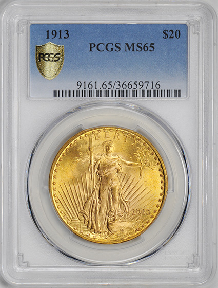 Picture of 1913 ST. GAUDENS $20 MS65+