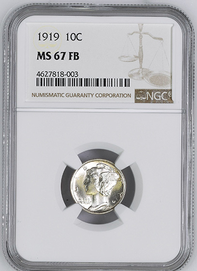 Picture of 1919 MERCURY 10C MS67 Full Bands