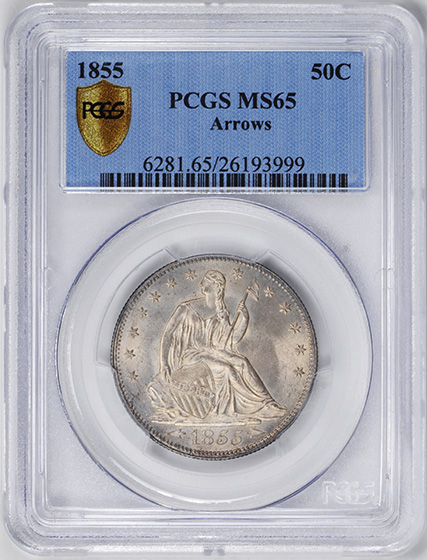 Picture of 1855 LIBERTY SEATED 50C, ARROWS MS65
