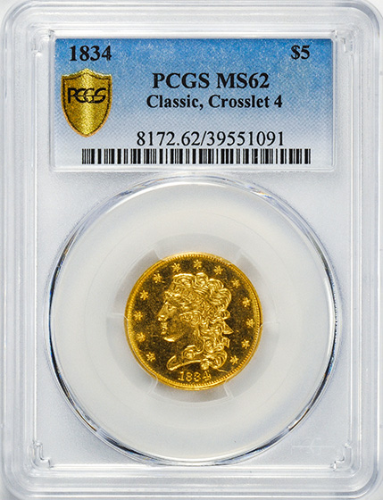 Picture of 1834 CLASSIC HEAD $5, CLASSIC-CROSS 4 MS62