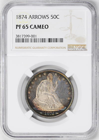 Picture of 1874 LIBERTY SEATED 50C, ARROWS PR65 Cameo