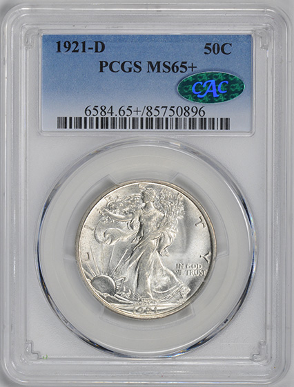 Picture of 1921-D WALKING LIBERTY 50C MS65+