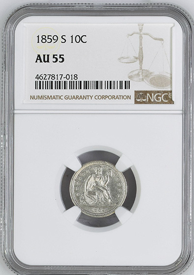 Picture of 1859-S LIBERTY SEATED 10C AU55
