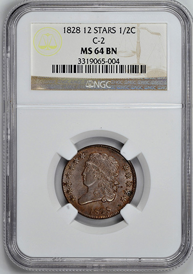 Picture of 1828 CLASSIC 1/2 C, 12 STARS MS64 Brown