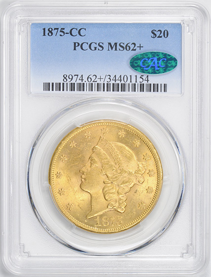 Picture of 1875-CC LIBERTY HEAD $20 MS62+