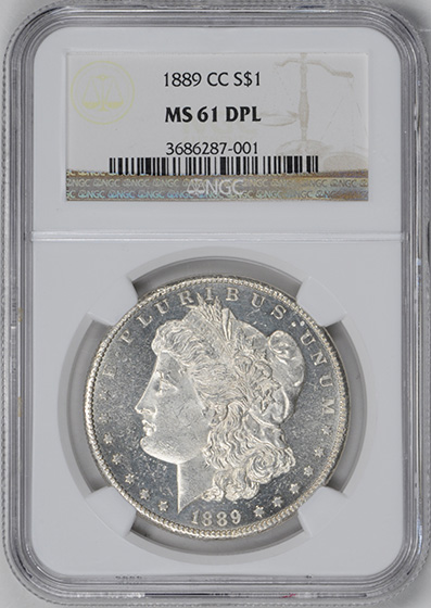 Picture of 1889-CC MORGAN S$1 MS61 DMPL