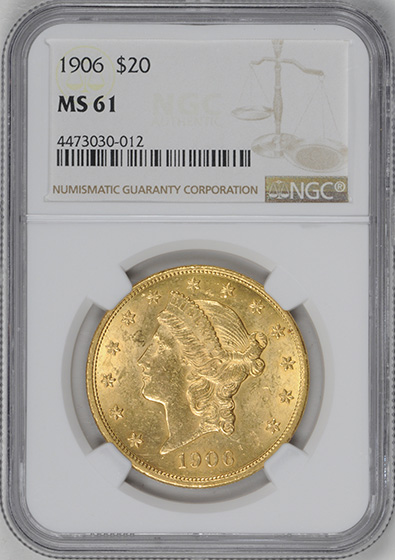 Picture of 1906 LIBERTY HEAD $20 MS61