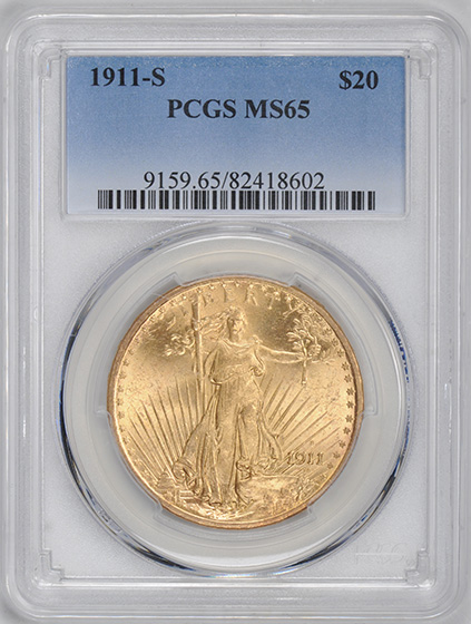 Picture of 1911-S ST. GAUDENS $20 MS65