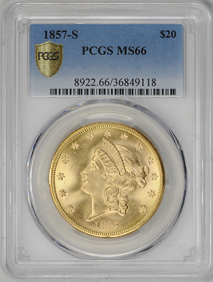Picture of 1857-S LIBERTY HEAD $20 MS66