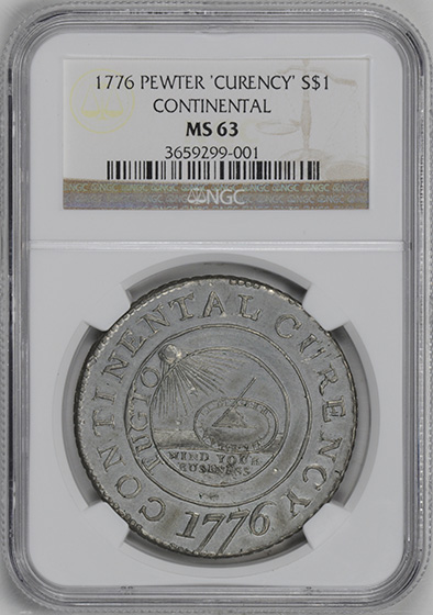 Picture of 1776 CONTINENTAL $1, CURENCY, PEWTER MS63