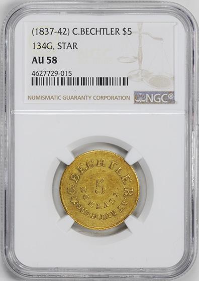 Picture of C BECHTLER $5, 134 GRAINS, STAR AU58