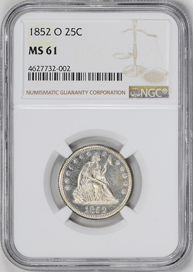 Picture of 1852-O LIBERTY SEATED 25C, NO MOTTO MS61