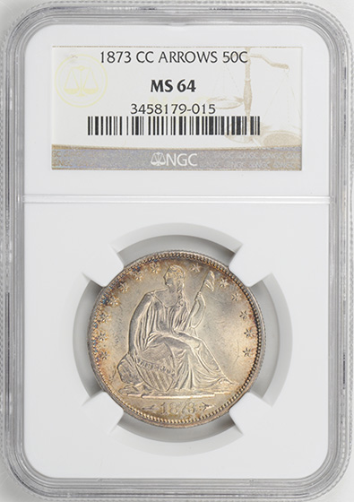 Picture of 1873-CC LIBERTY SEATED 50C, ARROWS MS64