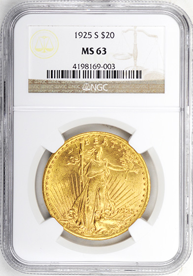 Picture of 1925-S ST. GAUDENS $20 MS63