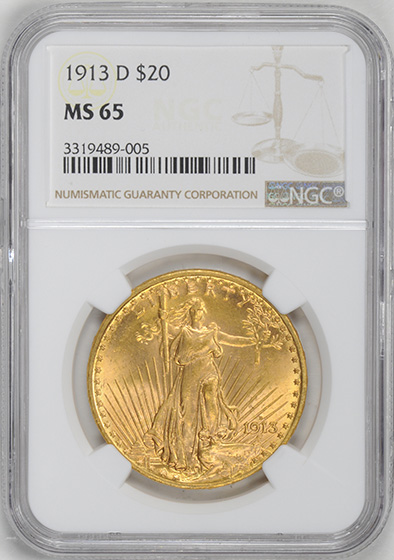Picture of 1913-D ST. GAUDENS $20 MS65