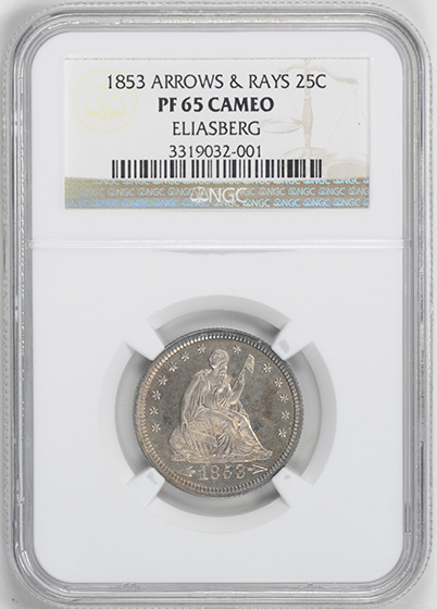 Picture of 1853 LIBERTY SEATED 25C, ARROWS AND RAYS PR65 Cameo