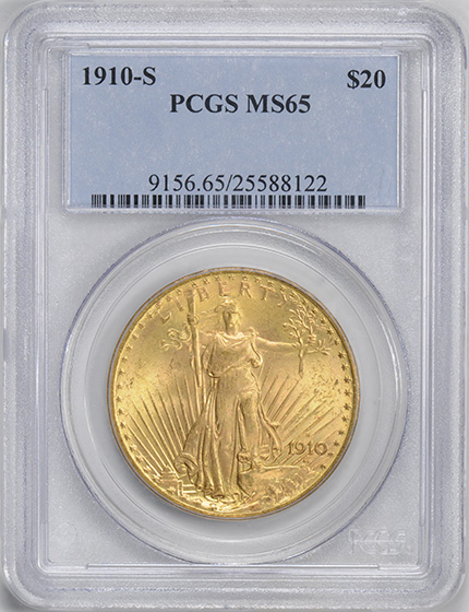 Picture of 1910-S ST. GAUDENS $20 MS65