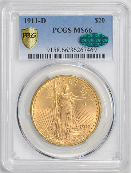 Picture of 1911-D ST. GAUDENS $20 MS66