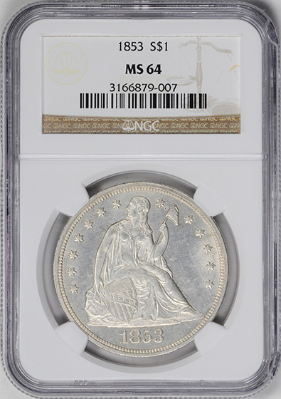 Picture of 1853 LIBERTY SEATED S$1, NO MOTTO MS64