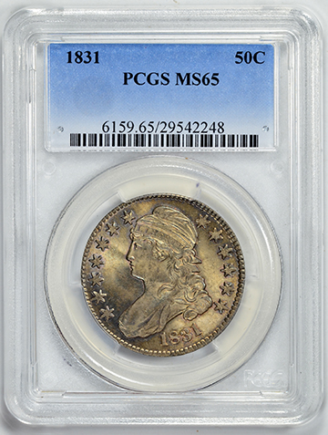 1831 CAPPED BUST 50C, LETTERED EDGE