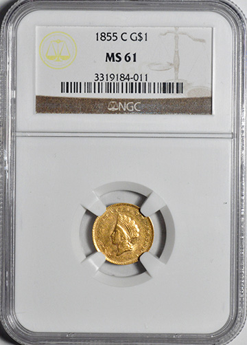 Image of 1855-C GOLD G$1, TYPE 2