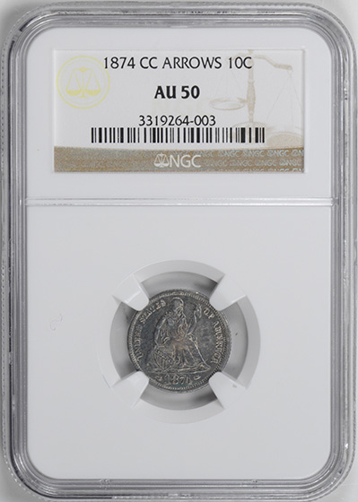 Image of 1874-CC LIBERTY SEATED 10C, ARROWS, LEGEND