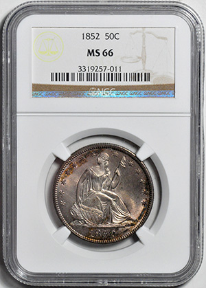 Image of 1852 LIBERTY SEATED 50C, NO MOTTO