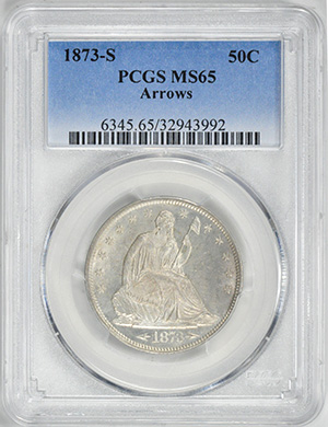 Image of 1873-S LIBERTY SEATED 50C, ARROWS, MOTTO