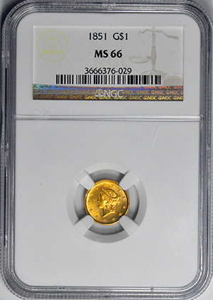 Image of 1851 GOLD G$1, TYPE 1