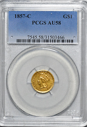 Image of 1857-C GOLD G$1, TYPE 3
