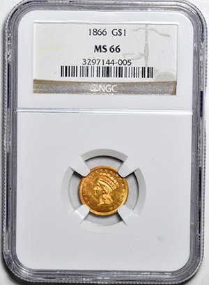 Image of 1866 GOLD G$1, TYPE 3