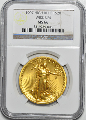 Image of 1907 ST. GAUDENS HI-RELIEF $20, HIGH RELIEF-WIRE EDGE