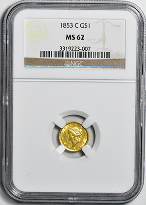 Image of 1853-C GOLD G$1, TYPE 1