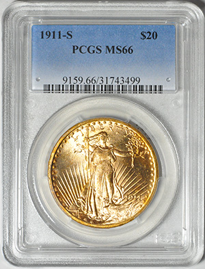 Image of 1911-S ST. GAUDENS $20, MOTTO