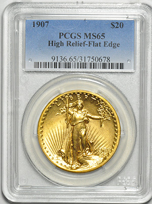 Image of 1907 ST. GAUDENS $20, HIGH RELIEF-FLAT EDGE