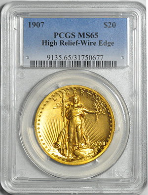 Image of 1907 ST. GAUDENS HI-RELIEF $20, WIRE EDGE