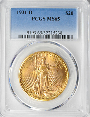 Image of 1931-D ST. GAUDENS $20, MOTTO