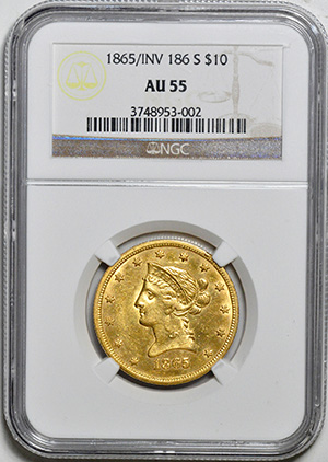 Image of 1865-S LIBERTY $10, 865/INVERTED 186, NO MOTTO
