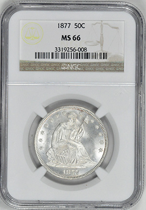 Image of 1877 LIBERTY SEATED 50C, MOTTO