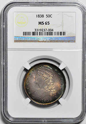 Image of 1838 CAPPED BUST 50C, REEDED EDGE