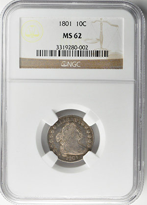 Image of 1801 DRAPED BUST 10C, LARGE EAGLE