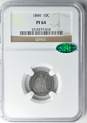 Image of 1844 LIBERTY SEATED 10C, DRAPERY