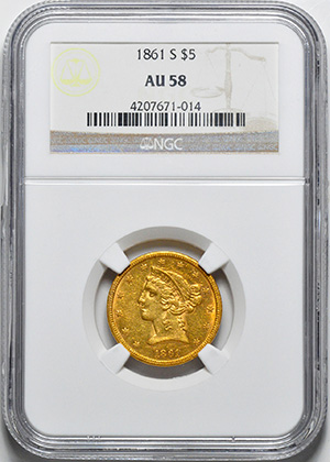Image of 1861-S LIBERTY $5, NO MOTTO