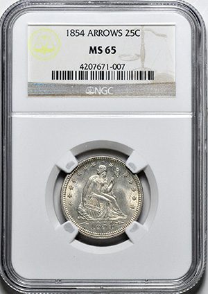 Image of 1854 LIBERTY SEATED 25C, ARROWS, NO MOTTO